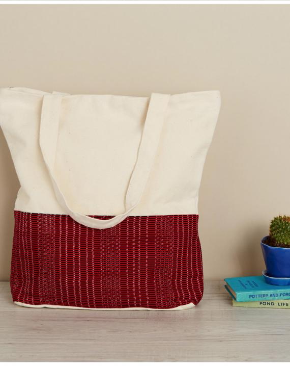 Red large tote bag-0